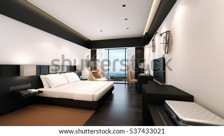 Modern bedroom / 3D Rendering