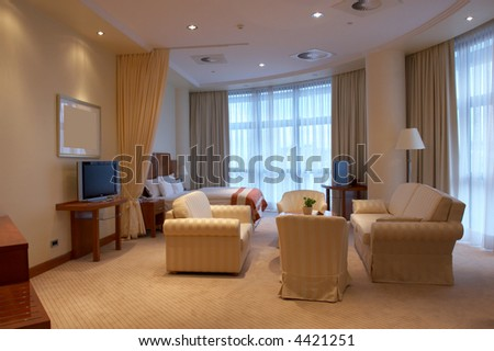 Modern Bedroom Decor (beige colors) - stock photo