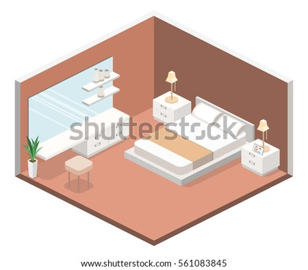 modern bedroom design in isometric style. Flat 3D illustration