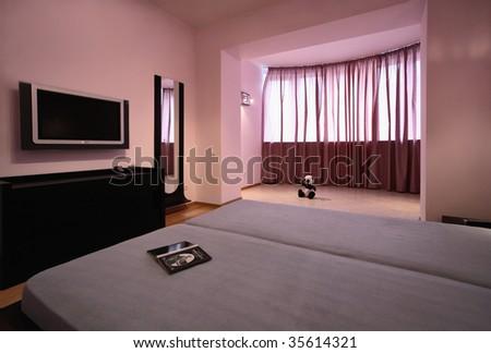 Modern bedroom, functional minimalism - stock photo