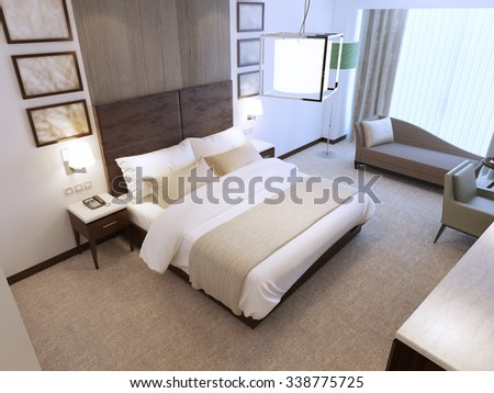 Modern bedroom in daylight with included lighting. Minimalist interior with contrast of white and dark brown colors. Wooden wall decoration behind bed. 3D render - stock photo