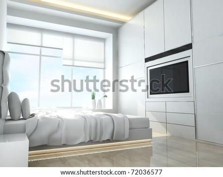 Modern bedroom in minimalist style - stock photo