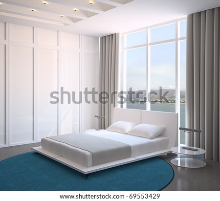 Modern bedroom interior. 3d render. Photo behind the window was made by me. - stock photo