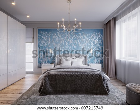 bedroom colors with white furniture. Modern Bedroom Interior Design with Classic Elements Gray Walls White  Furniture and Floral Wallpaper 3d Stock Illustration