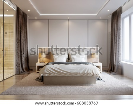 bedroom colors with white furniture. Modern Bedroom Interior Design with White Walls  Soft Beige Curtains Furniture and Large Bright Cozy Dressing Room Stock Illustration