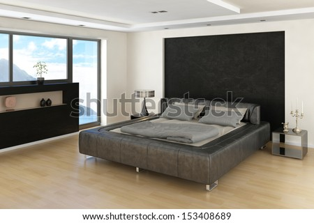Modern Bedroom Interior with grey bed with bedsheets and huge window with sideboard in front - stock photo