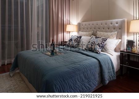 modern  bedroom luxury decoration - stock photo