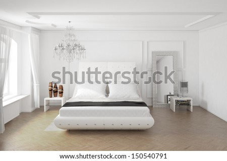 Modern bedroom with mirror and decoration central view - stock photo