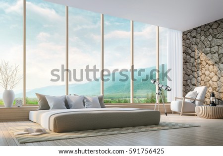 Bay window stock images royalty free images vectors for Mountain modern bedroom