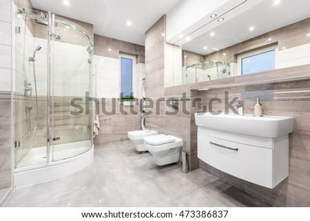 Modern Beige Bathroom Window Walk Shower Stock Photo (Royalty Free)  473386837   Shutterstock
