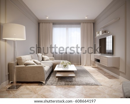 Modern Beige Gray Living Room Interior Design With Large Light Beige Sofa  And Beige White Curtains Part 86