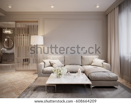 Modern Beige Gray Living Room Interior Design With Large Light Beige Sofa  And Beige White Curtains Part 77