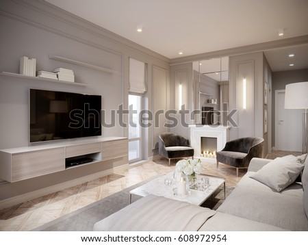 Modern Beige Gray Living Room Interior Design With Large Light Beige Sofa,  White Fireplace With