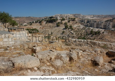Modern Bethlehem. View from the place of birth of Jesus - stock photo
