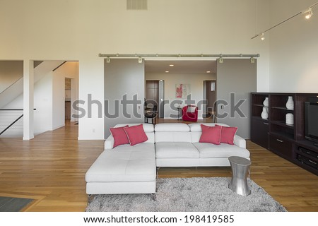 Modern big and comfortable living room with white couch, hardwood floor, pink pillows sliding doors and fire place. - stock photo