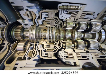 Modern big difficult shiny bus transmission at exhibition - stock photo