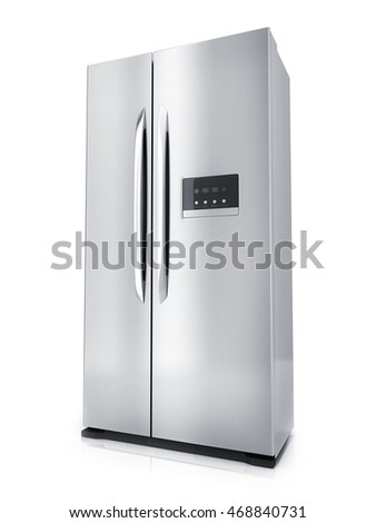 Modern big refrigerator on white background (done in 3d rendering)