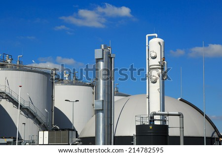 Modern biogas factory in Holland, using sugar beet pulp as a renewable form of energy production. - stock photo