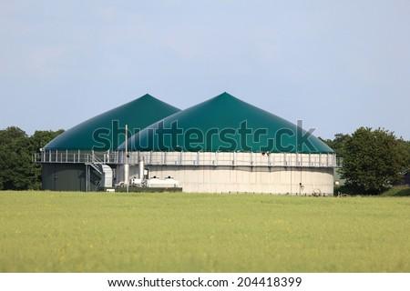 Modern biogas plant for renewable energy - stock photo