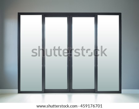 modern black aluminium door with gray wall background