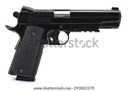 Modern black and chrome pistol black and white gun isolated on white - stock photo