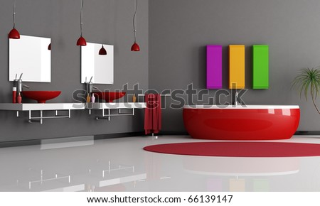 modern black and red bathroom with sink and bathtub - stock photo