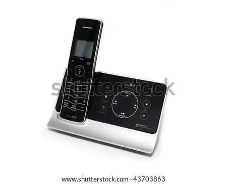 Modern Black and Silver Cordless Phone and Answering Machine on White Background - stock photo
