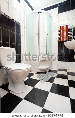 Modern black and white bathroom - stock photo