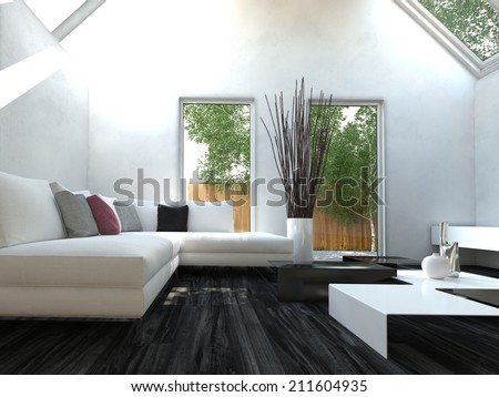 Modern black and white design style living room interior with nice furniture - stock photo