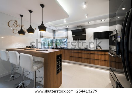 Modern black and white kitchen interior design - stock photo
