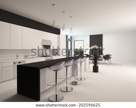 Modern black and white kitchen with a long receding bar counter with bar stools and a small compact living area in front of corner windows - stock photo