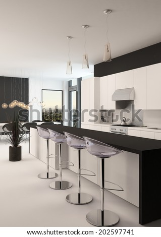 Modern black and white kitchen with a long receding bar counter with bar stools and a small compact living area in front of corner windows