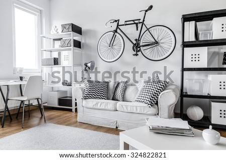 Modern black and white one room apartment - stock photo