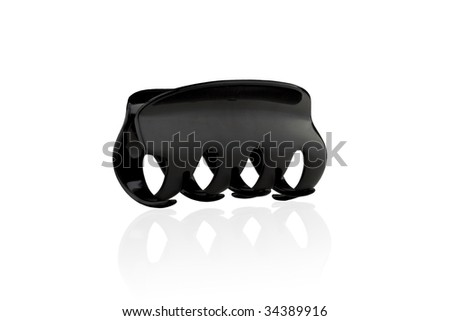 Modern black barrette isolated on a white background - stock photo
