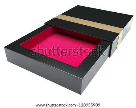 Modern black box opened. Isolated on white background - stock photo