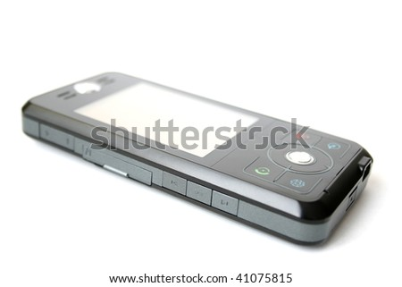 Modern, black, cell phone and mobile phone - stock photo