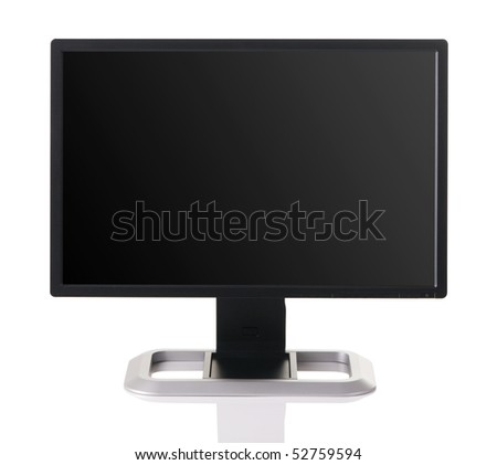 Modern black computer monitor isolated on white background - stock photo
