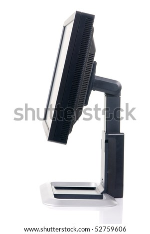 Modern black computer monitor isolated on white background, side view - stock photo