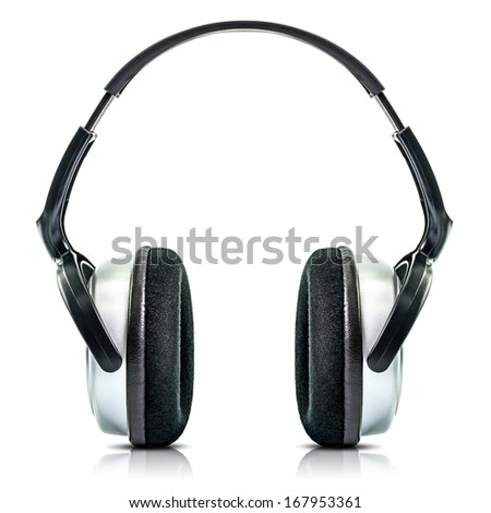 Modern Black Headphone Isolated on White Background - stock photo