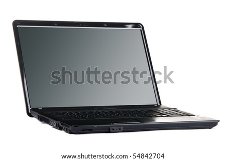 Modern black laptop isolated on white background - stock photo