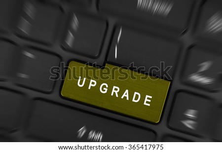 Modern black laptop keyboard with button upgrade - stock photo
