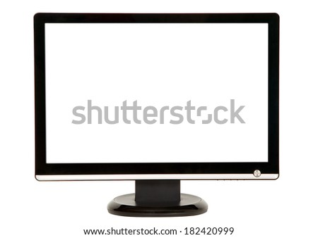 Modern black LCD monitor on white background - stock photo