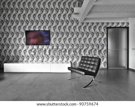modern black leather armchair - stock photo