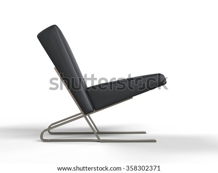 Modern black leather armchair - side view - stock photo