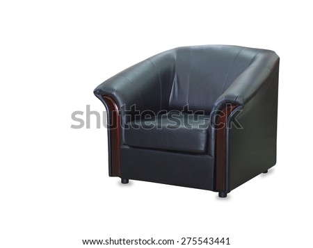 modern black leather chair isolated on white background - stock photo