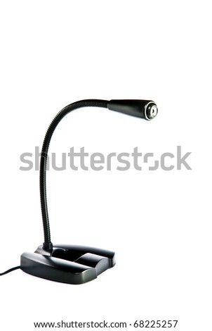 modern black microphone portable size for desktop computer or notebook isolated on white background