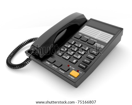 Modern black office telephone on a white background.