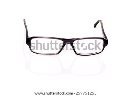 Modern black optical glasses with shadow and reflection on white