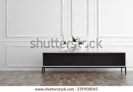 Modern black side table in a classic white wood panelled room with natural hardwood floor with three contemporary vases displayed on top. 3d Rendering. - stock photo