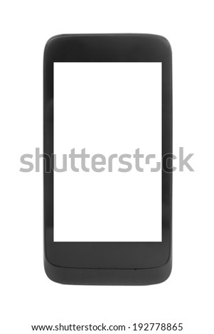 Modern black smartphone, isolated on white. Blank screen, closeup. - stock photo